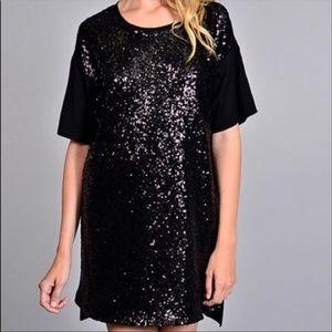 Victoria Secret Sequined T-Shirt Dress Black Large